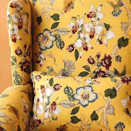 黄底花纹高档布艺欧式老虎椅单人沙发