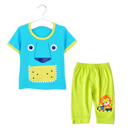 宝宝可爱卡通短袖套装 蓝