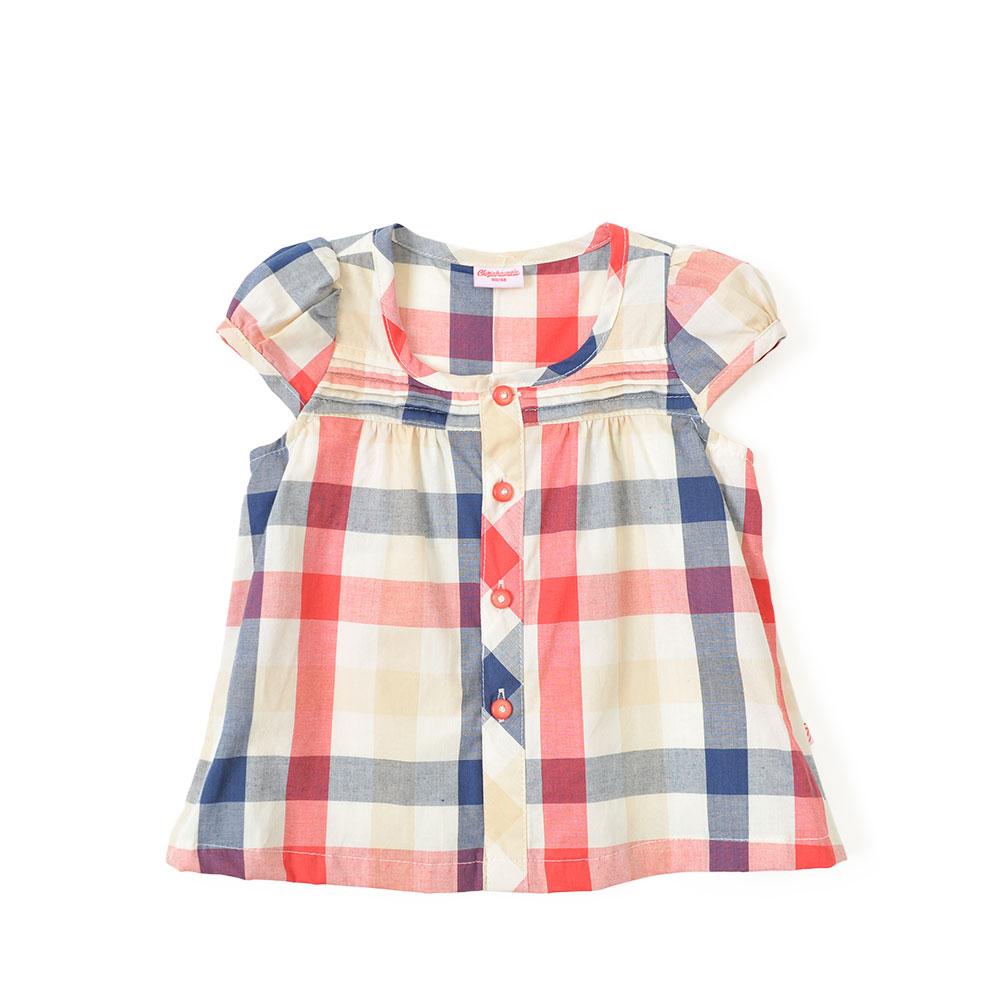 夏季新款女宝宝格子短袖衣服百搭衬衫 红格
