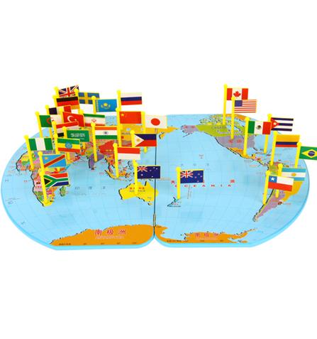世界地图插国旗 彩