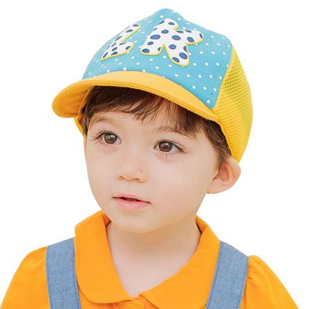 男女童字母夏款网格帽 浅蓝