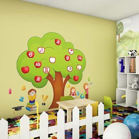 大号苹果树英文字母及数字儿童早教学习背景墙贴 绿