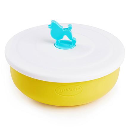 304级不锈钢婴儿餐具保温碗 黄