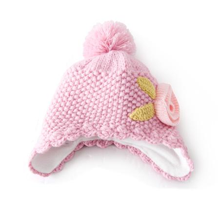 宝宝针织花朵遮耳帽 粉红