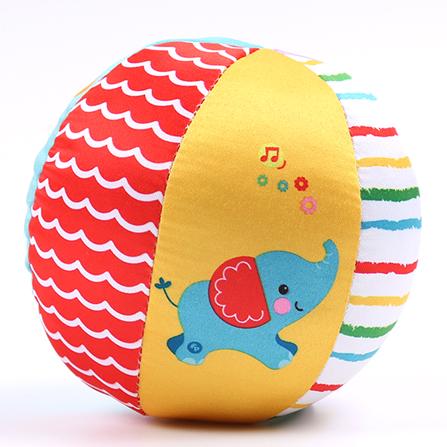 婴儿手抓摇铃球可爱动物认知球 六面彩