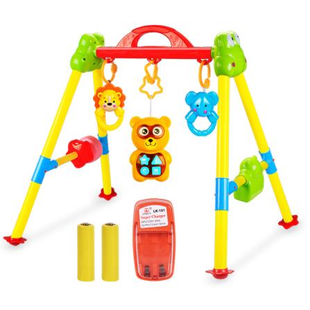 婴儿早教站立音乐遥控投影故事 健身架玩具 可爱小熊健身架 可充电版