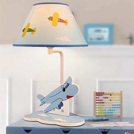 卡通布艺灯罩e27灯头飞机造型儿童房台灯