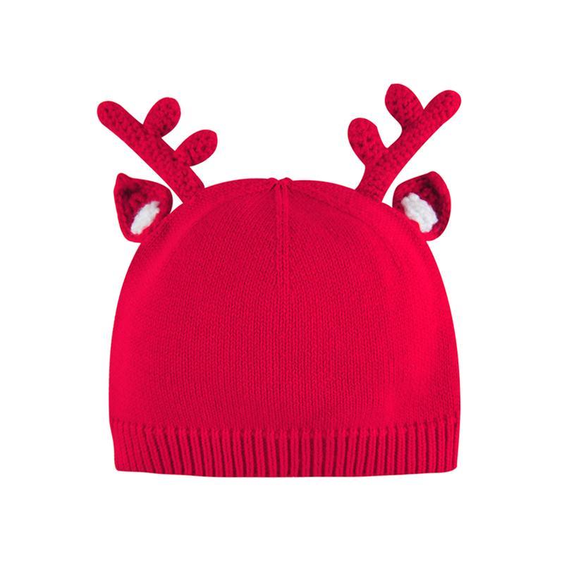 婴儿秋冬纯棉帽子宝宝复古小鹿角针织帽新生儿护耳帽