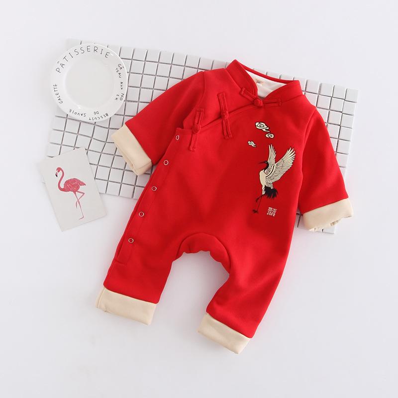 婴幼儿复古盘扣仙鹤连体衣哈衣加绒爬服新生儿男女宝宝外出服