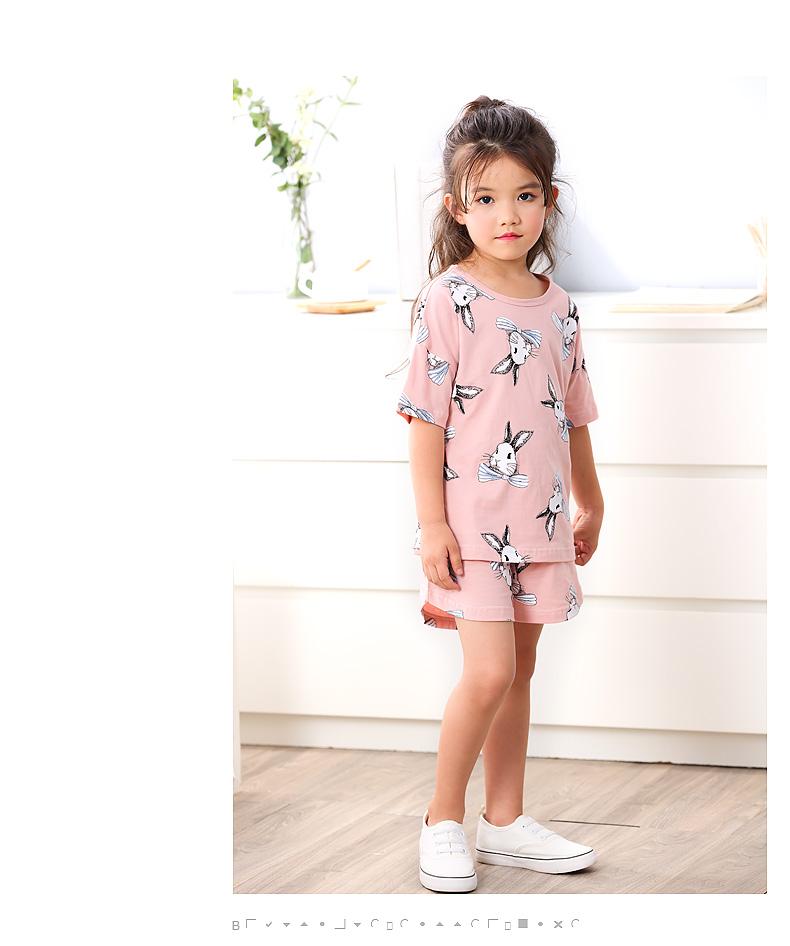 儿童睡衣女童夏季短袖纯棉套装中大童宝宝女孩小孩夏天家居服薄款