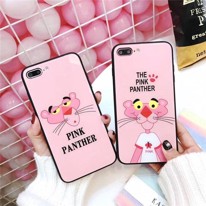 钢化玻璃iphonex手机壳7plus可爱顽皮豹苹果6s保护套粉红豹8可爱