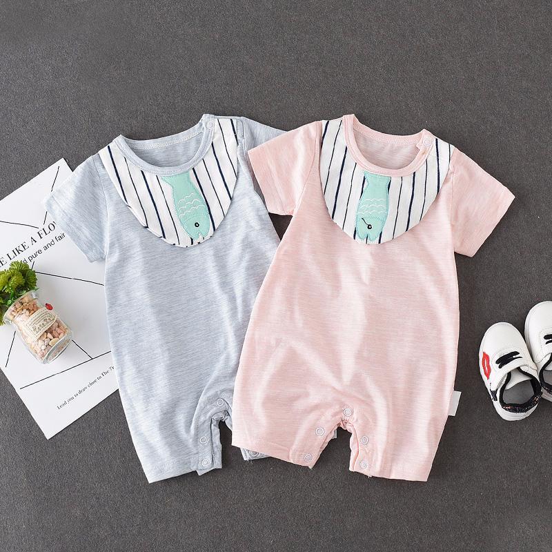 婴儿夏装连体衣3-6个月宝宝半袖哈衣初生婴幼新生儿夏天衣服爬服