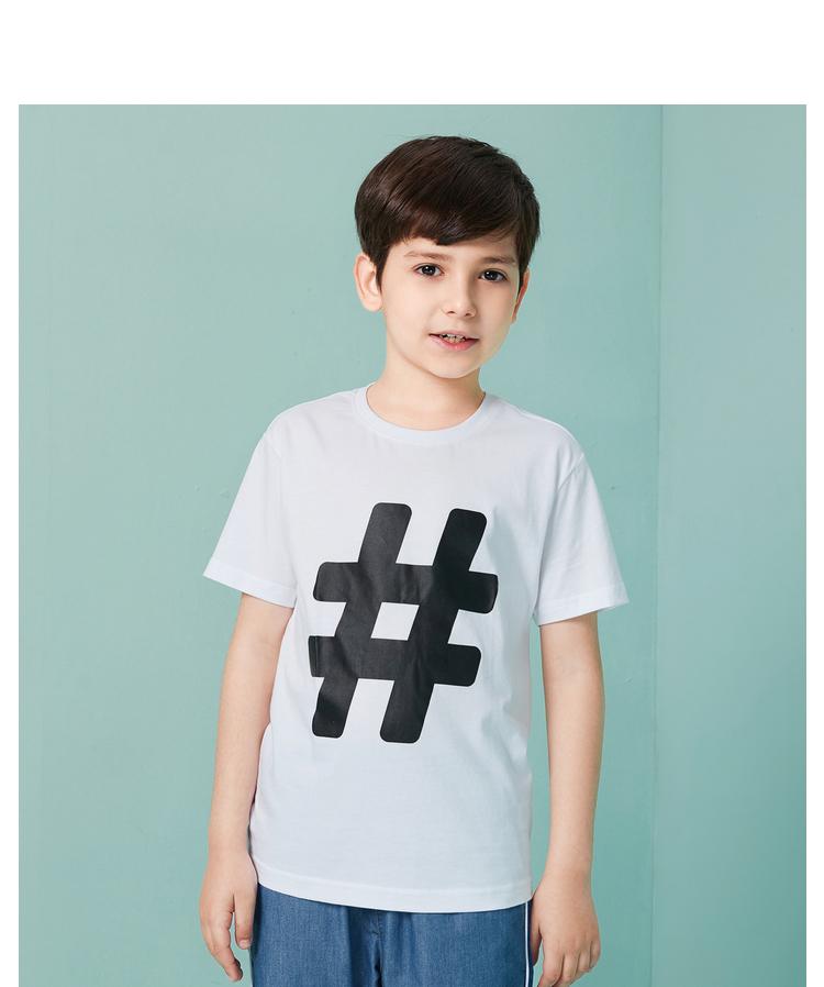 男童t恤 短袖白色中大童夏装2018新款童装学生半袖上衣棉