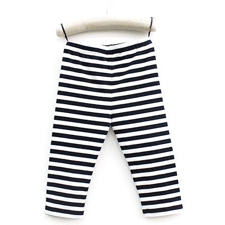 蓝白条纹七分打底裤
