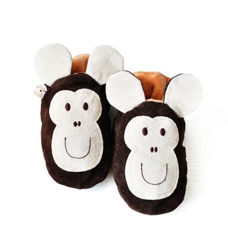 加绒宝宝家居鞋小猴子