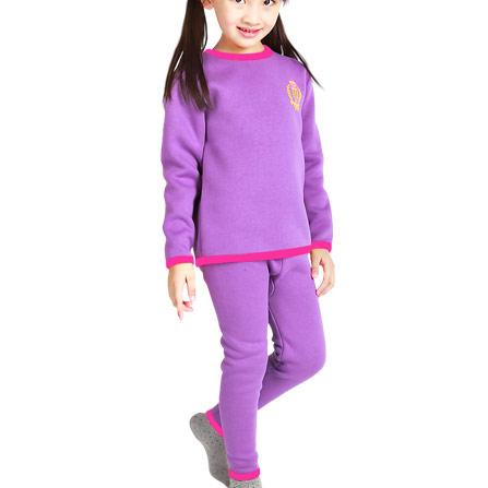 黄金绒暖甲儿童保暖内衣童装加绒加厚全身贴片套装冬 女童紫