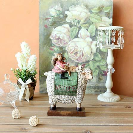 骑羊的女孩欧式田园装饰品