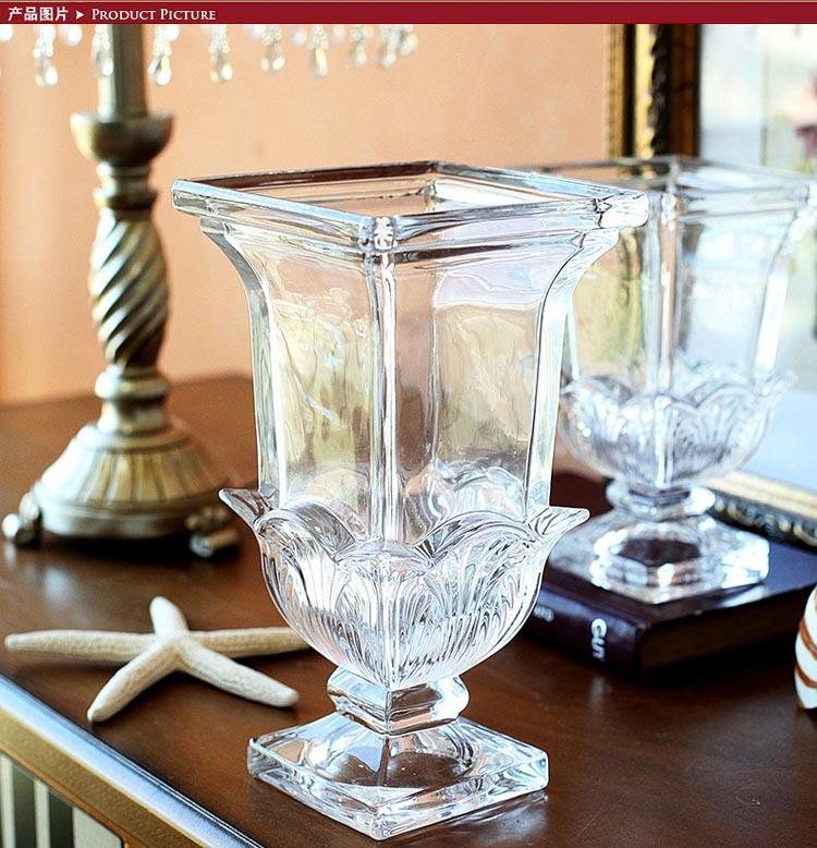 【鱼西美屋 欧式雕花玻璃方口花瓶 透明】 鱼西美屋