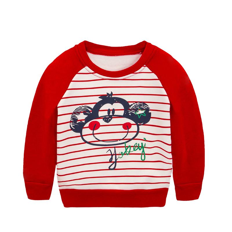 儿童加绒加厚卫衣冬款童装92008 猴子红