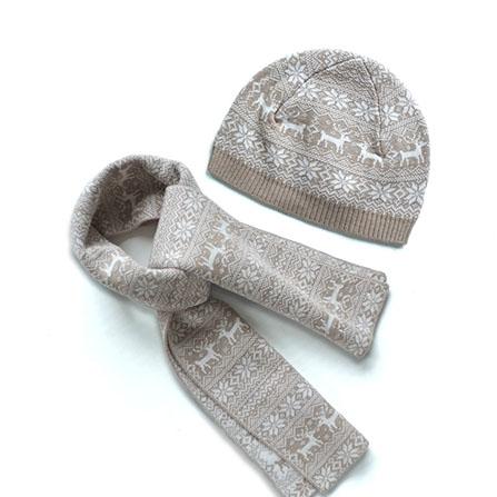 喜庆麋鹿图案婴儿保暖针织毛线帽子围巾套装
