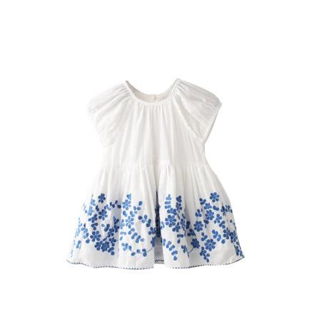 2015夏季新款女童刺绣泡泡袖连衣裙 白