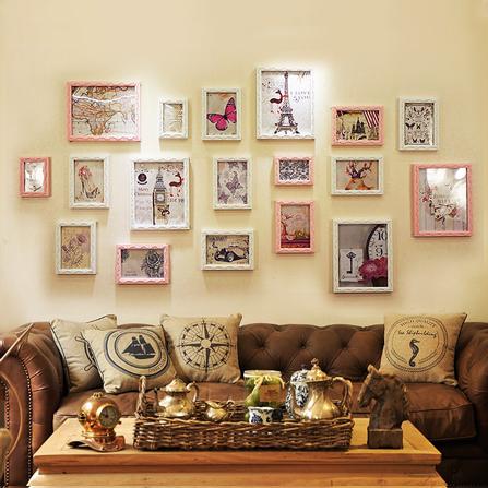 18框现代风格实木雕花照片墙 粉白
