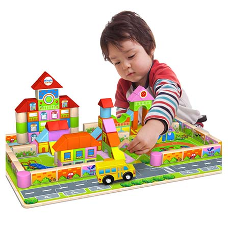 158粒幼儿园早教场景积木 幼儿园积木